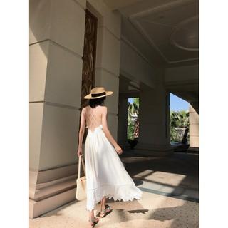 海邊渡假波西米亞風露背顯瘦吊帶白長裙沙灘裙