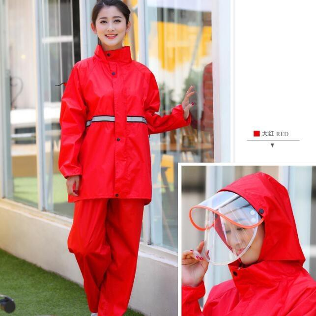 兩件式機車騎士雨衣兩件式風雨衣套裝自行車雨衣時尚輕薄騎行男女雨具