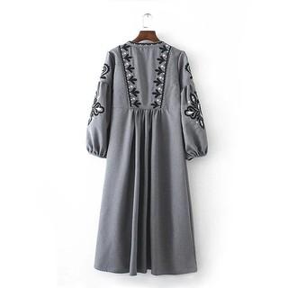 女裝民族風流蘇綁帶刺繡燈籠袖長裙連衣裙