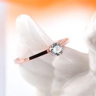 【格魯特】韓款極細鑲鑽戒指/玫瑰金戒指/鈦鋼戒指/不生銹不退色抗過敏/GWR 139