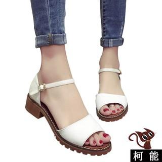 涼鞋~7008 ~ 涼鞋一字露趾寬板帶低跟厚底涼鞋羅馬魚