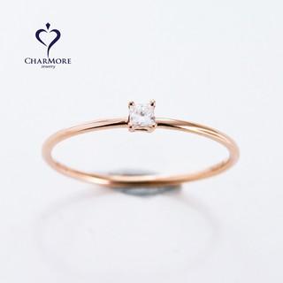 CHARMORE 輕珠寶 單顆方鑽經典造型18K 玫瑰金 0.05克拉天然真鑽鑽石戒指 線戒