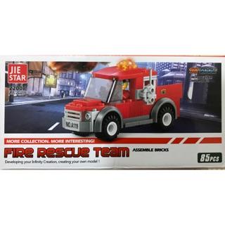 消防指揮車積木 (85pcs)打火積木 兒童小積木 類樂高積木 汽車系列積木 醫護積木-小玩童親子商城
