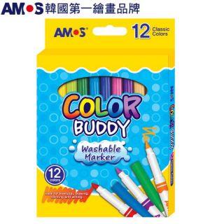 韓國AMOS 12色細款可水洗彩色筆