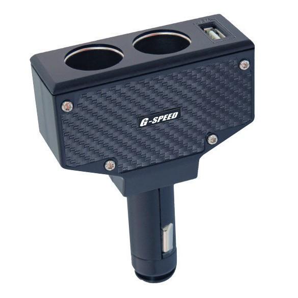 [Seanna] G-SPEED PR-41 直插式二孔插座+USB車充 卡夢/車充擴充/點菸擴充/點菸擴充器/點菸分接