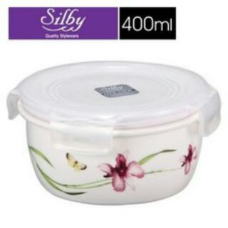 樂扣樂扣【Lock & Lock】 典雅瓷器微波保鮮盒-圓形花紋白色 (400ml/400cc) SLB-603