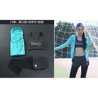 瑜伽服三件套 健身跑步衣运动服套装 女防震文胸速干裤长袖外套