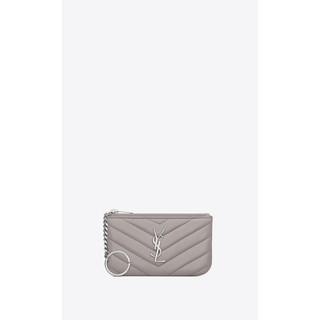 【Luxury Room極盡奢華】真品/正品 YSL 聖羅蘭 牛皮 鑰匙包 零錢包 灰色 鼠灰色