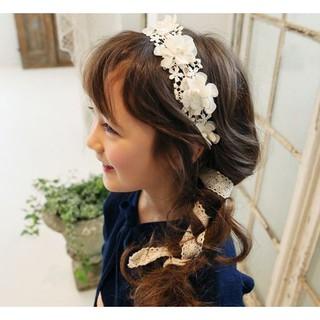 ~俏寶貝 新竹 店面~韓風女童氣質蕾絲珍珠花朵髮圈兒童髮箍髮飾頭飾花童髮