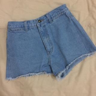 歐美 高腰 牛仔短褲