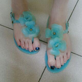 水藍果凍涼鞋
