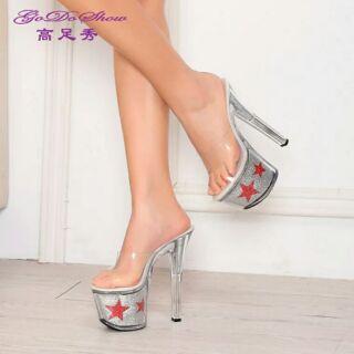 車展 17公分鞋 showgirl 超高跟鞋夜店鞋 厚底 防水台凉鞋T台走秀 模特鞋