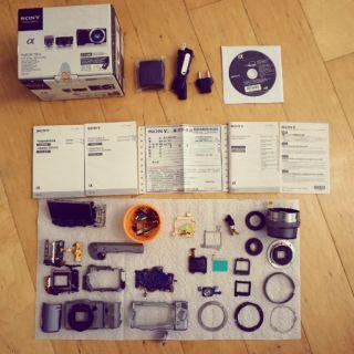 Sony NEX 5RL 全機含變焦鏡(EPZ 16-50)零件一批(可組合一台)送HVL-F7S閃光燈、座充(含線)