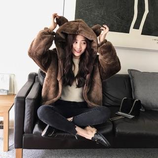 連帽外套韓版寬鬆純色毛絨絨超萌小熊耳朵連帽外套 夾棉外套