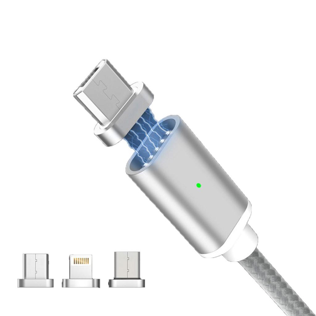 蘋果數據線 編織三合一磁吸數據線 大電流 安卓/Type-C/蘋果手機USB介面一拖三充電線 2.4A快充