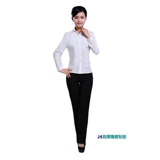 尼克-專業團體制服*CH011*新款白襯衫女長袖職業V領修身工作服正裝大碼襯衣女裝ol通勤