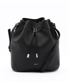 【PO購物】日本正品  Agnes b. 暢銷款黑色柔軟防刮皮革大型 水桶包 -另有多色