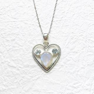 月光石藍托帕石925純銀米奇愛心項鍊 印度手工鑲嵌製作
