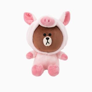 【懶熊部屋】LINE FRIENDS 日本正版 WANNABE系列 BROWN 熊大 粉紅豬 頭套裝 娃娃 玩偶