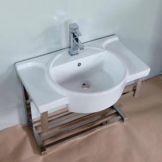 工廠直營 洗臉盆搭不鏽鋼架 贈送梳妝鏡+置物架