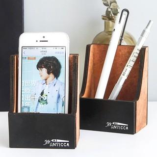 訂單滿300才發貨的哦 優湃 復古色木質手機支架 桌面懶人手機座 多功能置物盒收納盒