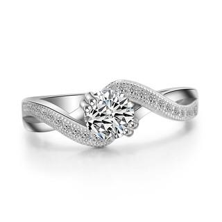 s925純銀渡白金奢華高級珠寶鑲嵌60分模擬鑽戒女戒指環求結婚飾品