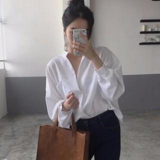 【 ★ 】★長袖襯衫★貨到  V 領立領素色素面寬鬆休閒顯瘦 簡約 韓