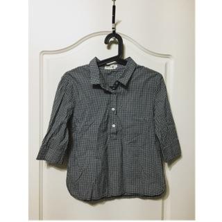 日系 森林系女孩必備單品 棉質上衣 黑白格子 有領格紋七分袖襯衫上衣 T恤 百搭 M