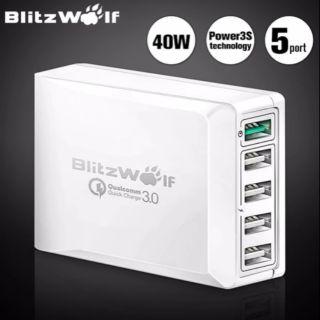 (現貨)BlitzWolf閃電狼 BW-S7 40W QC3.0五口充電器手機平板家用多孔快速充電