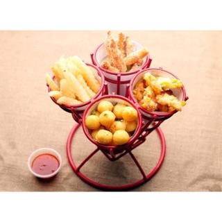 美式餐廳 酒吧用 餐廳 創意造型錐形四頭炸物籃 錐形 薯條 雞塊 炸雞 洋蔥圈
