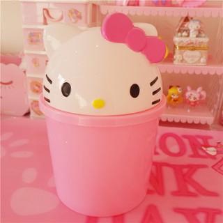 全館滿500折扣50可愛粉色K*T貓桌面迷你小垃圾桶 可愛收納桶 筆筒 多用收納垃圾桶