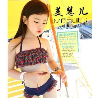 KABE泳051212韓國代購2015新款女童中大童泳衣比基尼罩衫分體式兒童寶寶游泳裝