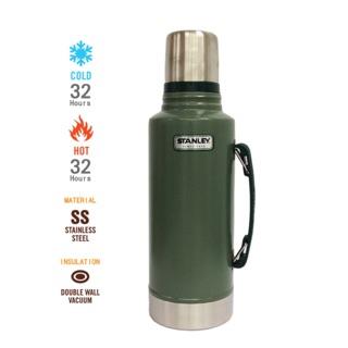 【美國Stanley】不鏽鋼保溫瓶典真空保溫瓶 1.9L-錘紋綠