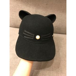 全新現貨正品!KARL LAGERFELD 卡爾 貓咪 貓耳 羊毛 珍珠 棒球帽 帽子 M