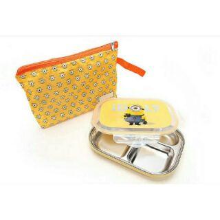 預購 韓國進口 小小兵 不鏽鋼 隔熱餐盤/便當盒(附收納袋)