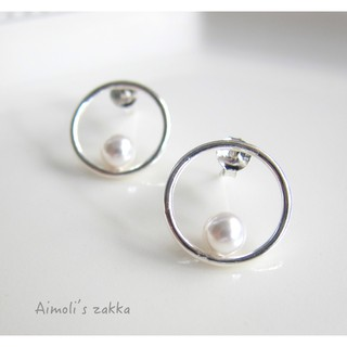 925純銀耳環 銀框珍珠耳環 銀耳針 非銀不可 韓國製 韓國質感飾品((Aimoli's zakka))