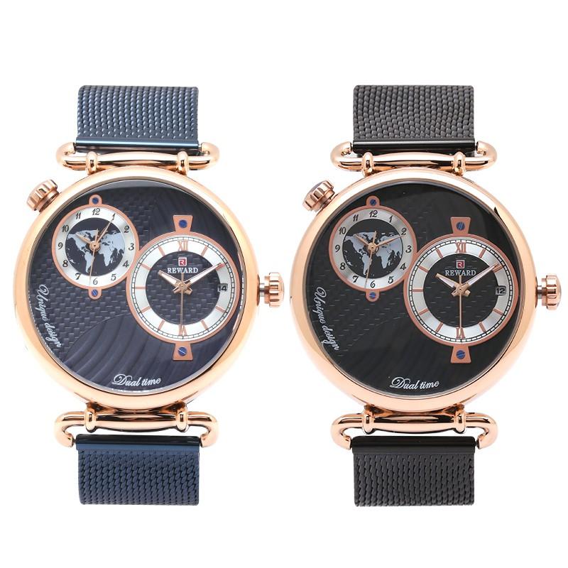 REWARD時空之戀雙時區日期顯示金屬米蘭鍊帶手錶【WRD62002M】璀璨之星
