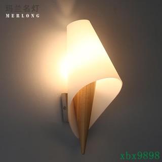 精美時尚溫馨簡歐式壁燈床頭臥室客廳簡約現代實木壁燈日式玄關過道壁燈