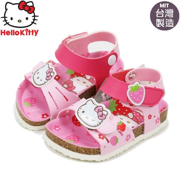 童鞋 正版HELLO KITTY 凱蒂貓甜心草莓兒童勃肯涼鞋.童鞋 粉14-19號(817922)