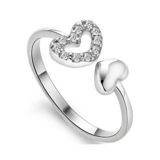 速寄 鏤空雙愛心戒指 鋯石精密切割S925 銀鍍18K 白金開口可調節