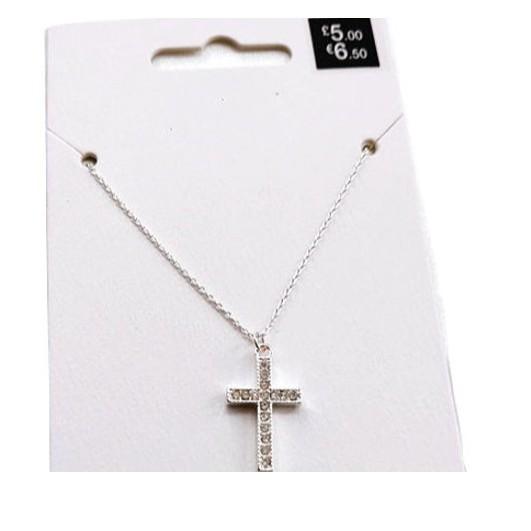 外貿簡約 經典滿鑽十字架 銀項鍊 男女短項鍊 最後3條賣完斷貨 情侶項鍊