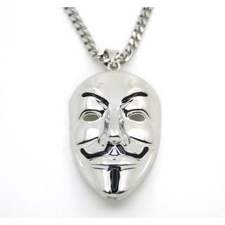 2018最新仿真金真銀國際駭客組織匿名者項鍊金面具項鍊銀面具項鍊 V for Vendetta V怪客面具項鍊嘻哈項鍊