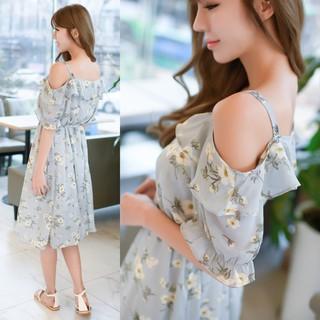 『R288』韓版 夏季新裝 甜美系 輕柔 雪紡荷葉邊 碎花 吊帶連身裙