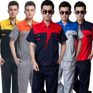 99 大促職業裝定制 工作服套裝男女短袖薄款定制耐磨工廠車間勞保服