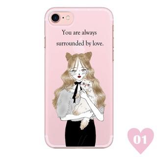 日本潮牌 Ciara 插畫 少女與貓圖案 iPhone 手機殼 硬殼 透明 預購