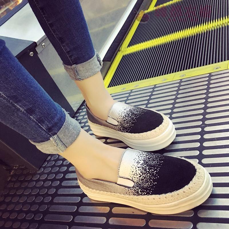 春秋新款韓版女鞋平底單鞋女內增高中跟漁夫鞋厚底復古休閒鞋