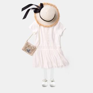 女童公主連衣裙寶寶百褶裙子兒童短袖童裝女 夏季新款白色裙子