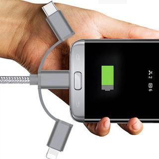 【批發價62】三合一數據線適用於蘋果安卓Type-C金屬一拖三尼龍編織充電線