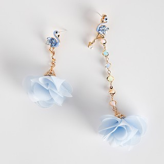 ~耳環~韓國 同款925 銀針火烈鳥鋯石彩鑽彩色串珠水晶花