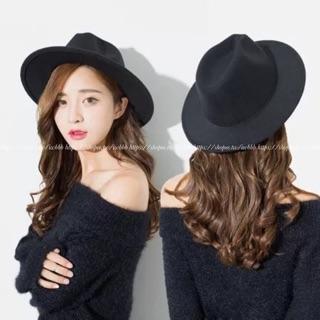 韓國ulzzang 原宿復古禮帽範智喬同款黑色英倫寬檐帽子秋天禮帽女羊毛呢帽秋 女士爵士帽
